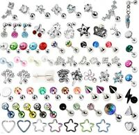 CZ Gem Tragus Bar Helix Cartilage Upper Ear Piercing Stud Top Earring UK SELLER