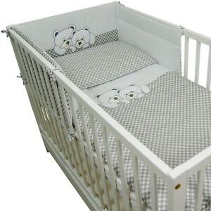 3 Tlg. Bettwäsche Nestchen Babybettwäsche Bettset Kissenbezüge Bettgarnitur 2Bär