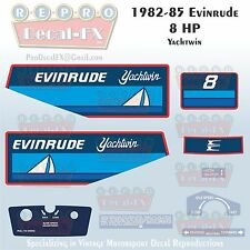1982-85 Evinrude 8 HP Yachtwin Outboard Reproduction 9 Piece Marine Vinyl Decals