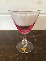 Vintage Tiffin Franciscan Wistaria Pink Stem Water/Wine Glass/Goblet w STICKER!