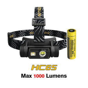 NiteCore HC65 Cree LED CRI Red Light USB Rechargeable Headlamp Headlight+Battery