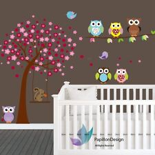 Cherry Tree Flower Owls Squirrel  Baby Girl  Nursery wall Decal sticker Mural