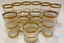 15 Piece Culver Icicle Glasses 22k trim 8-Highball 7-Old Fashioned Mid-Century