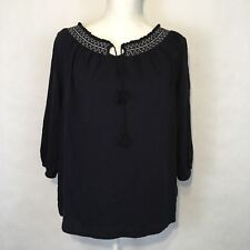 Talbots Women's Peasant Shirt Size M Navy Casual