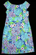 LILLY PULITZER Womens Bright Blue Floral Cap Sleeve Dress ~ Size 2 EEUC kg
