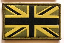 Sew On & Velcro Embroidered Patch Badge (Forces Style) Union Flag Jack Olive