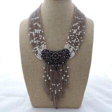 "M012603 19"" 9 Strands Gray Agate White Pearl Necklace CZ Pendant"
