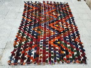 4.6x6.9 ft  Vintage Colorful Moroccan Turkish Tolou Tulu Shaggy Rug Area Carpet