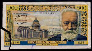 France 500 francs Victor Hugo 6-1- 55