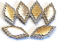 "6 - 2 Hole Slider Beads 1"" Brass & Silver Aztec Tribal Navajo Southwest Design"