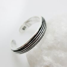 925 Sterling Silver Toe Ring - Stripped Toe Ring-Adjustable Toe Ring