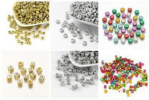 Multi-Color/Gold/Silver Metallic Acrylic Square Round Alphabet Letter Beads USA