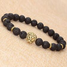 ARMBAND Schwarz Gold Lava Rock Beads Löwe Head Armkette Charm Bracelet