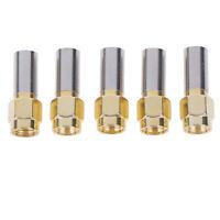 5pcs SMA Male Plug RF Coaxial Connector Crimp For RG58 RG142 RG400 LMR195 J uW
