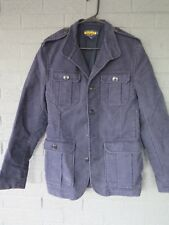RALPH LAUREN RUGBY VELOUR MILITARY FIELD COAT IN NAVY SIZE MEDIUM .  ATC