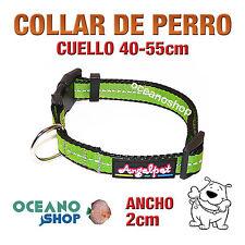 COLLAR PERRO VERDE TEJIDO REFLECTANTE AJUSTABLE DE CALIDAD CUELLO 40-55 L82 3369