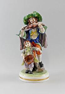 9997003 Große Porzellan Figur Zigeuner mit Geige und Kind Ernst Bohne H35cm