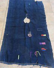 Rare Vintage Dogon,Mali Man's Wedding Shirt/Indigo Dyed Strips, Embroidery