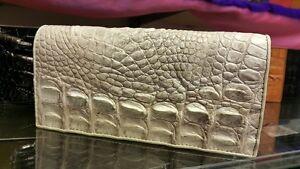 Genuine Crocodile Wallets Alligator Skin Leather Long Bifold Men's Purses White