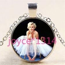 Marilyn Monroe Cabochon Tibetan silver Glass Chain Pendant Necklace #5757