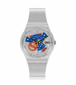 Swatch NASA TAKE ME TO THE MOON Grey Dial Silicone Band Men's Watch GZ355