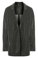 BNWT Topshop Gunmetal Grey Metallic Sheen Lurex Smart Tailored Jacket, Size 12