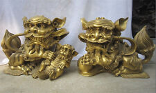 "14""Chinese Bronze Brass Fengshui Guardian Lions Foo Fu Dog Hold Lion Pair Statue"