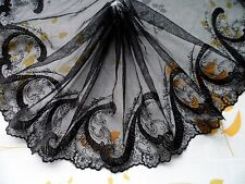"""4Y~7.5""""~Venice Embroidered Lace Trim Tulle Bridal Dress Silver Metallic Black"""