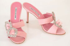 Manolo Blahnik pink 8 38 satin crystal embellished strappy sandal shoe NEW $1095