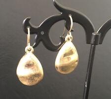 Gold Teardop Earrings Hammered Textured Tear Drop Dangle Pear Shape Women