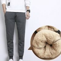 Men Trousers Sweatpants Sport Pants Harem Faux Sherpa Fleece Casual Winter Solid