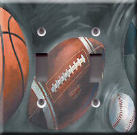 Double Light Switch Plate Cover - Black Sport