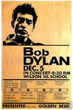 FOLK ROCK: Bob Dylan at Wilson High Long Beach Concert Poster Circa 1964