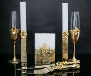 GOLD WEDDING GLASSES UNITY CANDLE SET CAKE KNIFE AND SERVER SET TOASTING FLUTES