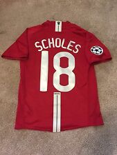 MANCHESTER UNITED HOME SHIRT 2007/08 ADULTS SMALL (S) SCHOLES 18 VINTAGE NIKE