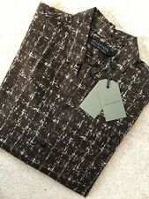"""ALL SAINTS BLACK BASE """"BOLT"""" LONG SLEEVE PATTERNED SHIRT TOP - SMALL - NEW TAGS"""