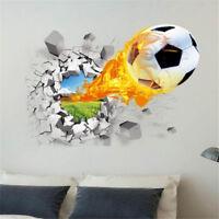 3D Soccer Ball Football Wall Sticker Decal Kids Bedroom Home Room Decor Sport