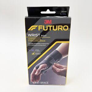 Futuro Wrist Compression Stabilizing Brace Sprains Strains RIGHT L/XL Black