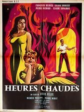 Affiche 60x80cm HEURES CHAUDES 1959 Liliane Brousse, Françoise Deldick, Mirat