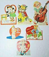 Vtg 1930-40s Valentine Cards Die Cut Lot Of 6 #11 Girls Boys Clown Mechanical
