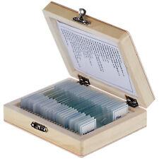 Amscope 25 Prepared Microscope Slides Glass With Wooden Box