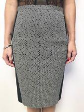 VERONIKA MAINE black white print panel pencil skirt sz 8 lined