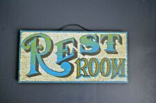 REST ROOM Sign-Wood and Chain- SOLID and Colorful