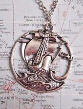 SILVER PIRATE SHIP PENDANT chain necklace steampunk explorer traveler clipper C6