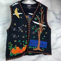 Women's Designer Studio BOO! Halloween Sweater Vest Embroidered Zip Up Size XL