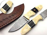 BEST QUALITY HANDMADE DAMASCUS HUNTING DAGGER KNIFE WITH CAMEL BULL HORN HANDLE