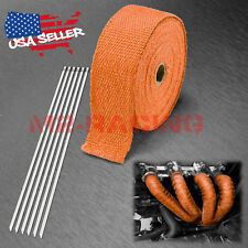 "Orange Exhaust Pipe Insulation Thermal Heat Wrap 2""x50' Motorcycle Header"
