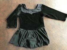 Girl's Size M 7-8 DANSKIN Black Leotard Skirt Long Sleeve Velour Ballet Dance