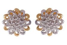 Pave 0.85 Cts Natural Diamonds Stud Earrings In Hallmark 18Karat Multi-Tone Gold