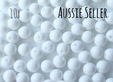 10 silicone SNOW WHITE 9mm beads round BPA free baby teeth safe nursing white